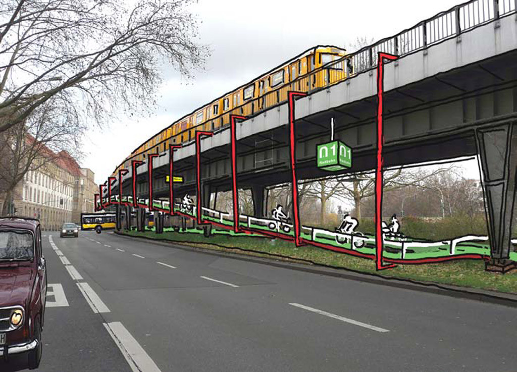 A mock up for the design of the suspended cycle path crossing a road on the Radbahn Berlin, a proposed 9km long cycle path under the elevated sections of the U1 underground line from Charlottenburg to Friedrichshain.