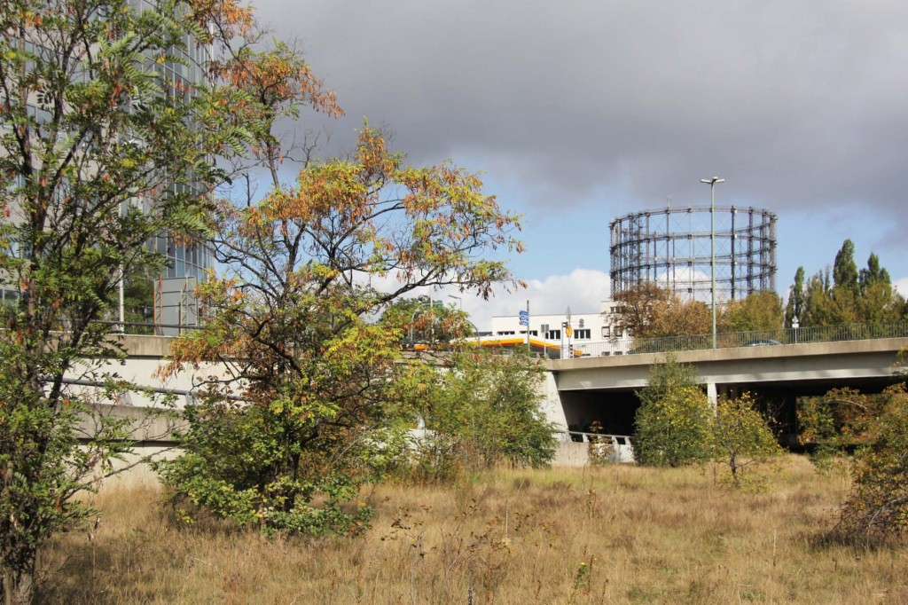 Sachsendamm and the Schöneberg Gasometer from the Abandoned Motorway Extension - Westtangente in Berlin