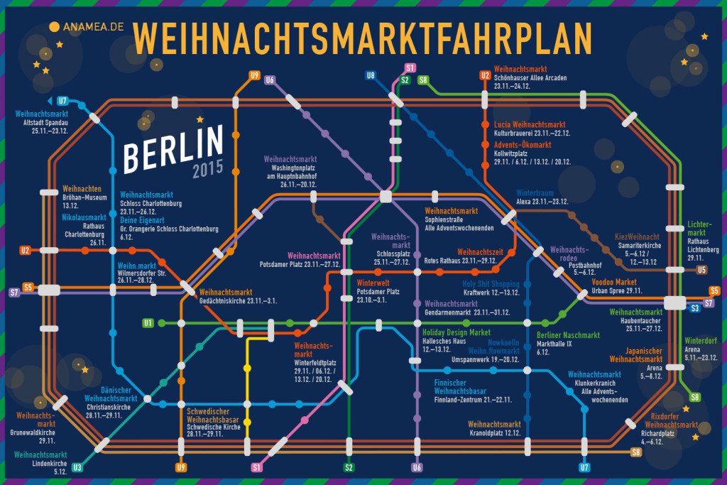 Berlin Christmas Markets Map 2015 - Weihnachtsmarktfahrplan Berlin by ANAMEA - a festive twist on the classic BVG S- and U-Bahn network map