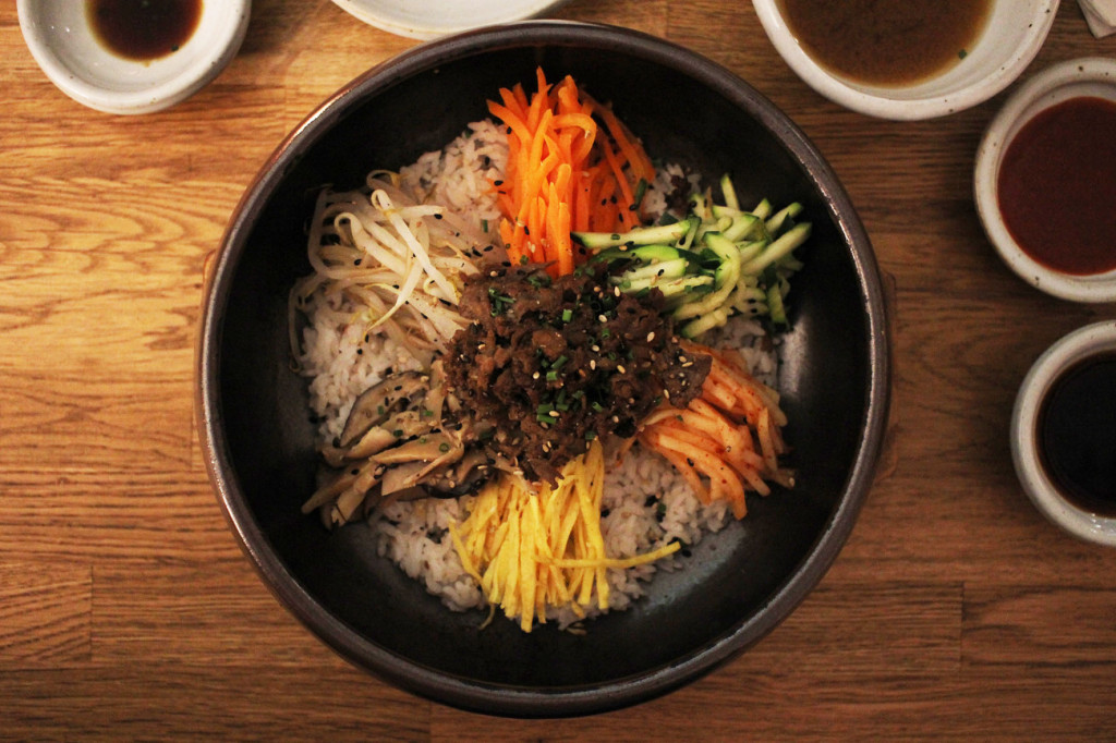 Bibimbap and Sides at WaWa Berlin Korean Restaurant