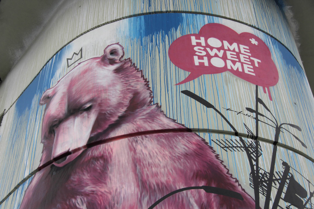 The 'Home Sweet Home Bear' street art on the shaft of the Bierpinsel, a brutalist tower in Berlin Stieglitz