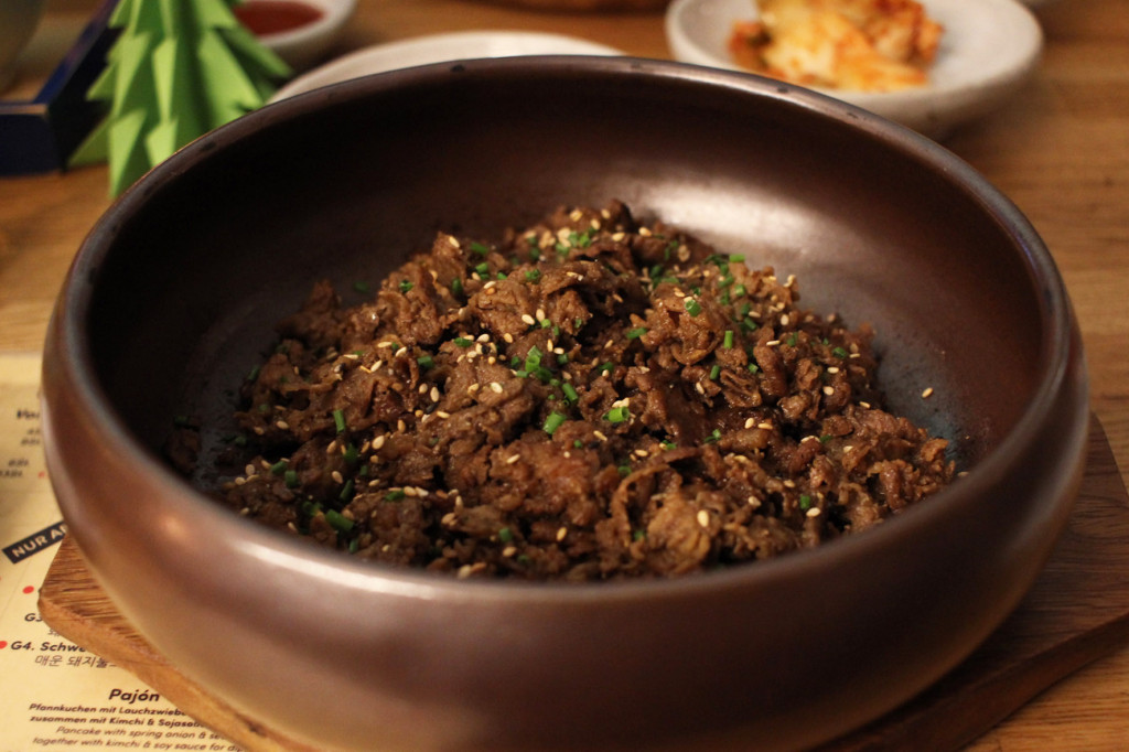 Dish of Bulgogi meat at WaWa Berlin Korean Restaurant