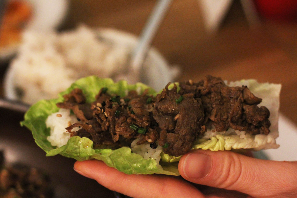Bulgogi on a Cos Lettuce Leaf at WaWa Berlin Korean Restaurant