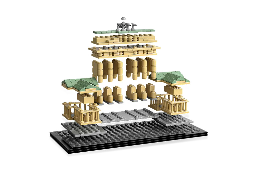 LEGO Architecture Brandenburg Gate - A simulated cascade of bricks forming the 363 piece Brandenburg Gate set in the LEGO Architecture Landmark series - Photo ©LEGO