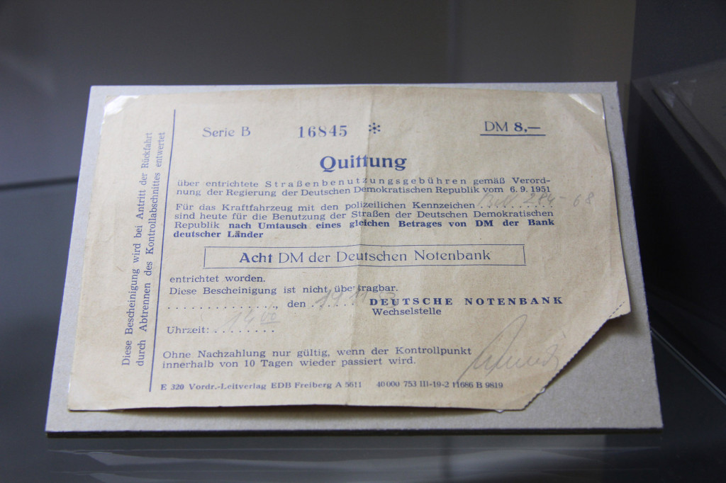 1953 receipt for payment to use the roads of East Germany (DDR) in the permanent exhibition'GDR Marienborn Border Crossing: Bulwark, Eye of the Needle, Seismograph' in the former main office building at The Memorial to the Division of Germany in Marienborn (Gedenkstätte Deutsche Teilung Marienborn) at Checkpoint Alpha