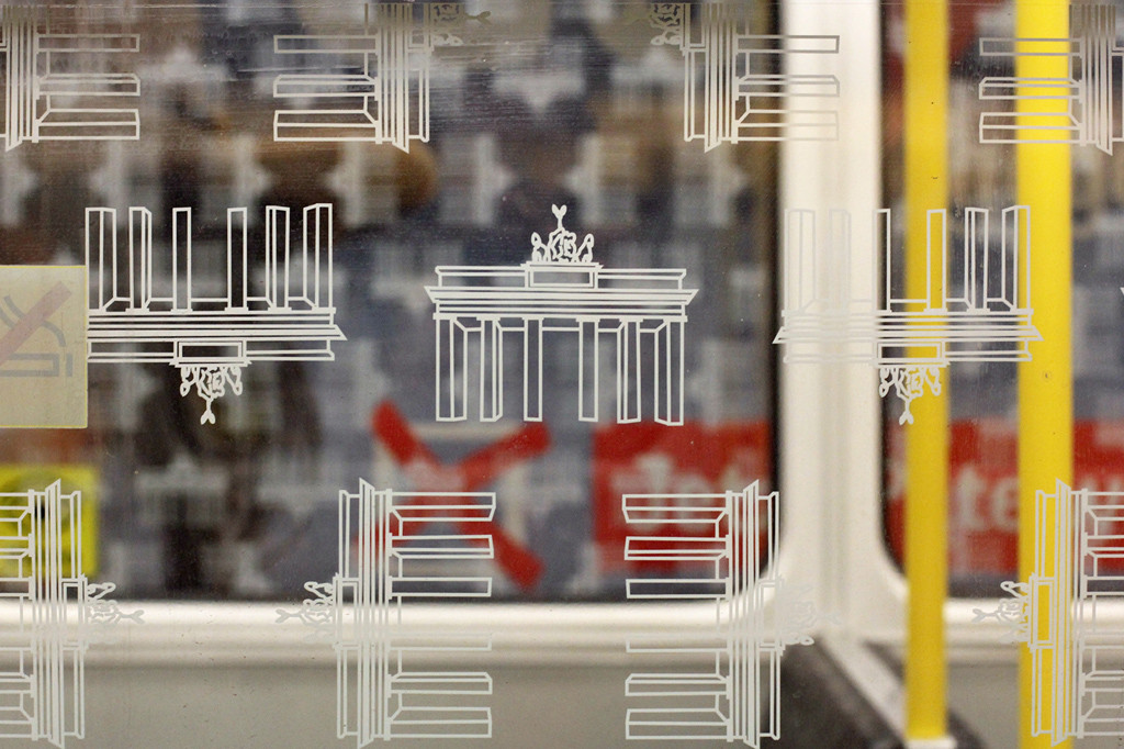 Berlin U-Bahn Windows – Wonky Brandenburg Gate Graphics - the perspective issues of the illustrations of the Brandenburg Gate used for the protective stickers on the windows of Berlin's underground trains.
