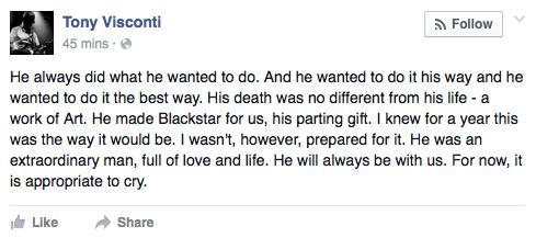 Tony Visconti Facebook Post
