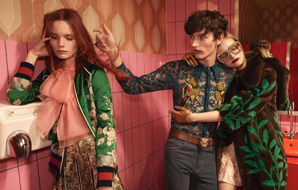 Models in a colourful Berlin club bathroom - from the Gucci Spring Summer 2016 ad campaign by Glen Luchford for Allessandro Michele