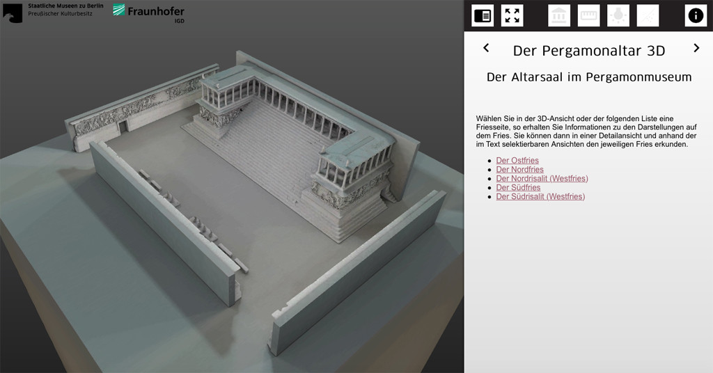 A screenshot of the Pergamon Altar 3D Model by Fraunhofer IGD available of the website of the Pergamon Museum and created for theStaatliche Museen zu Berlin (Berlin State Museums)