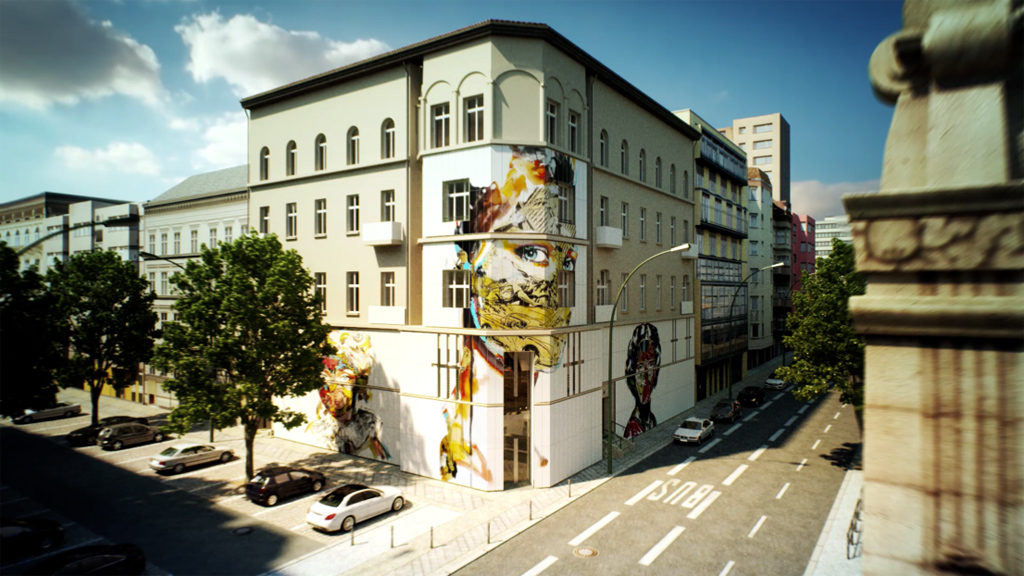 Rendering of the exterior for the proposed Urban Nation Museum for Urban Contemporary Art to plans by GRAFT Architects - Photo: URBAN NATION