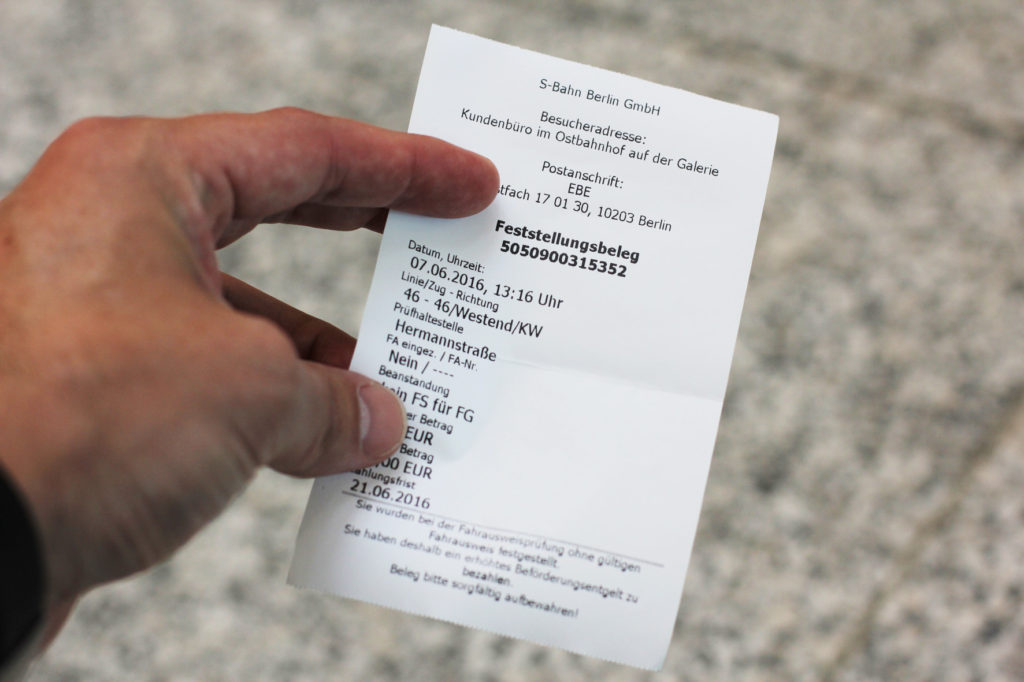 A Penalty Notice for and S-Bahn / BVG Fine for Schwarzfahren - travelling without a valid ticket on public transport in Berlin