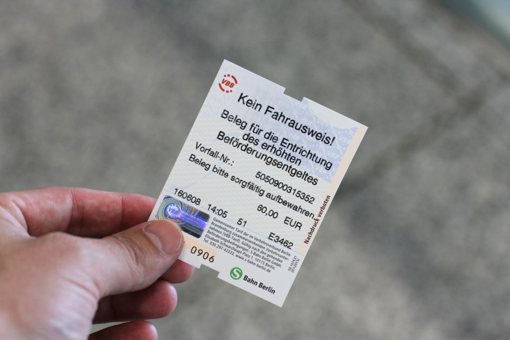 A Receipt for an S-Bahn / BVG Fine for Paid for Schwarzfahren (travelling without a valid ticket on public transport) in Berlin