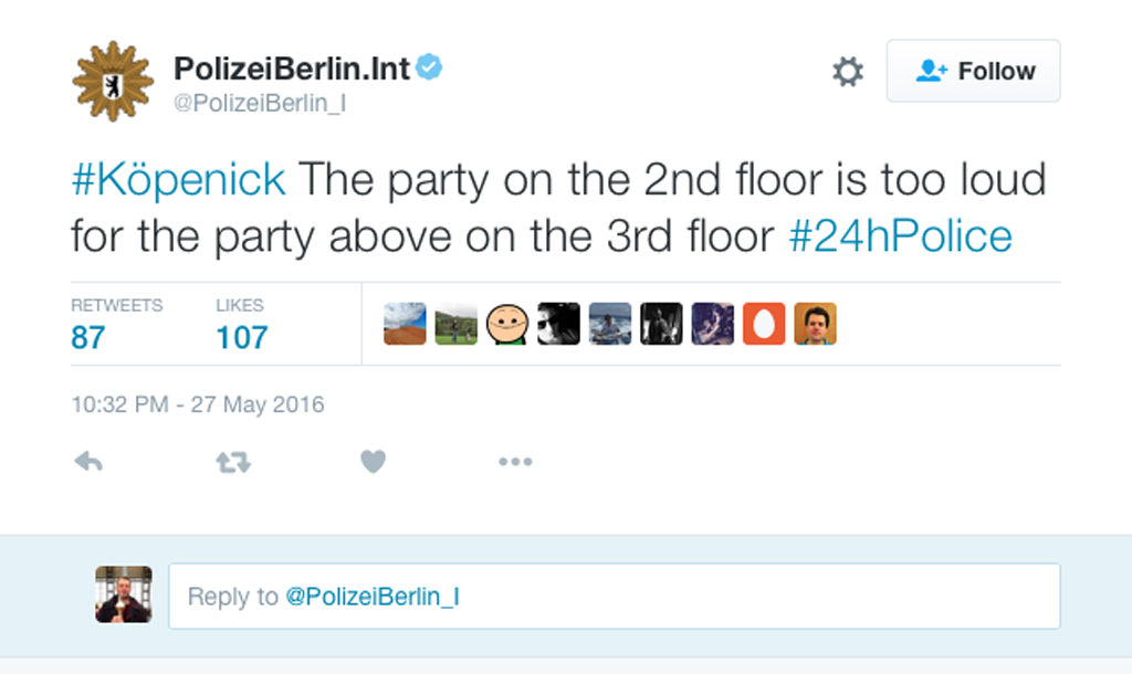 Berlin Police Twitter Marathon 2016 - Berlin Police live tweet for 24 hours the situations and call they deal with including the most Dit is Berlin (that's Berlin) moment - #Köpenick The party on the 2nd floor is too loud for the party above on the 3rd floor #24hPolice