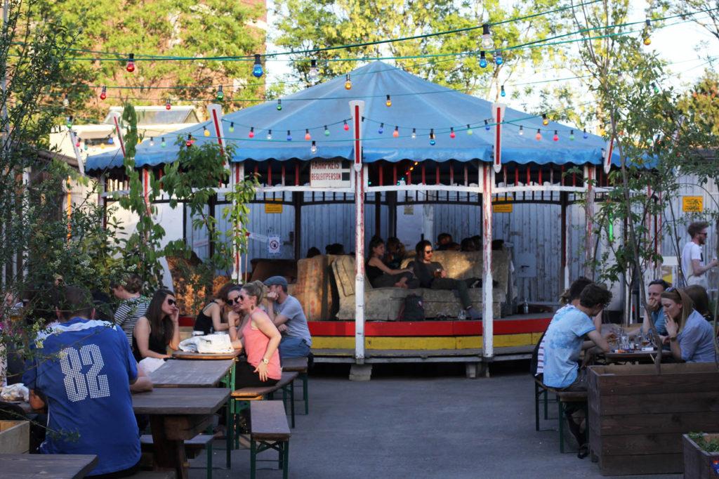 The merry-go-round at Birgit & Bier Beer Garden Berlin