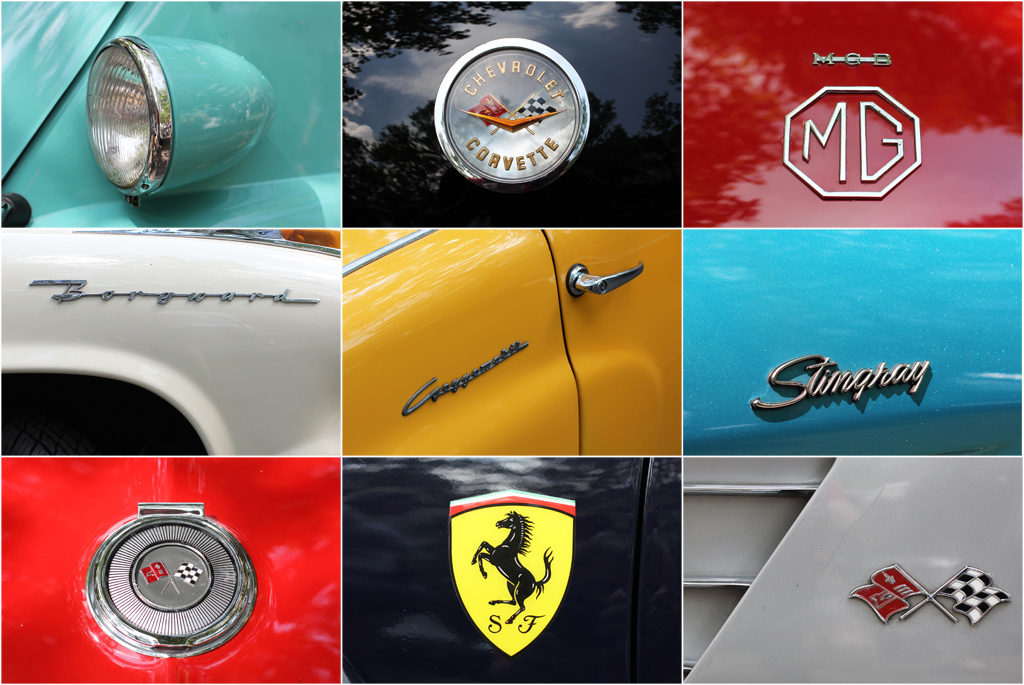 A collage of some of design details on the cars on display at Classic Days Berlin - an annual classic car event held on the Kurfürstendam
