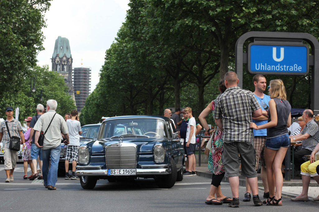 View of the Gedächniskirche from U-Bahnhof Uhlandstraße during Classic Days Berlin - an annual classic car event held on the Kurfürstendam