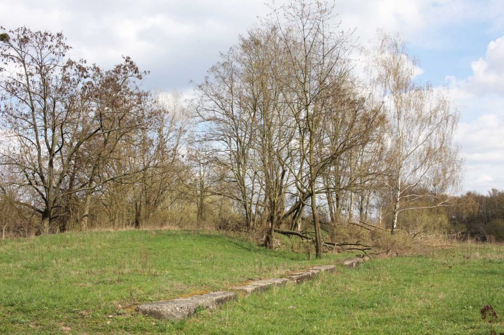 Concrete foundations of Parks Range Doughboy City - a former military training ground of the US Army Berlin Brigade
