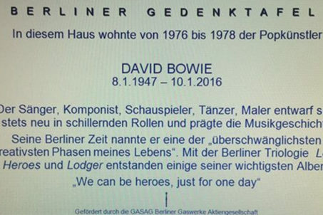 A mock up for the text of the David Bowie Memorial Plaque to be installed at Hauptsrasse 155 in Berlin Schöneberg in August 2016