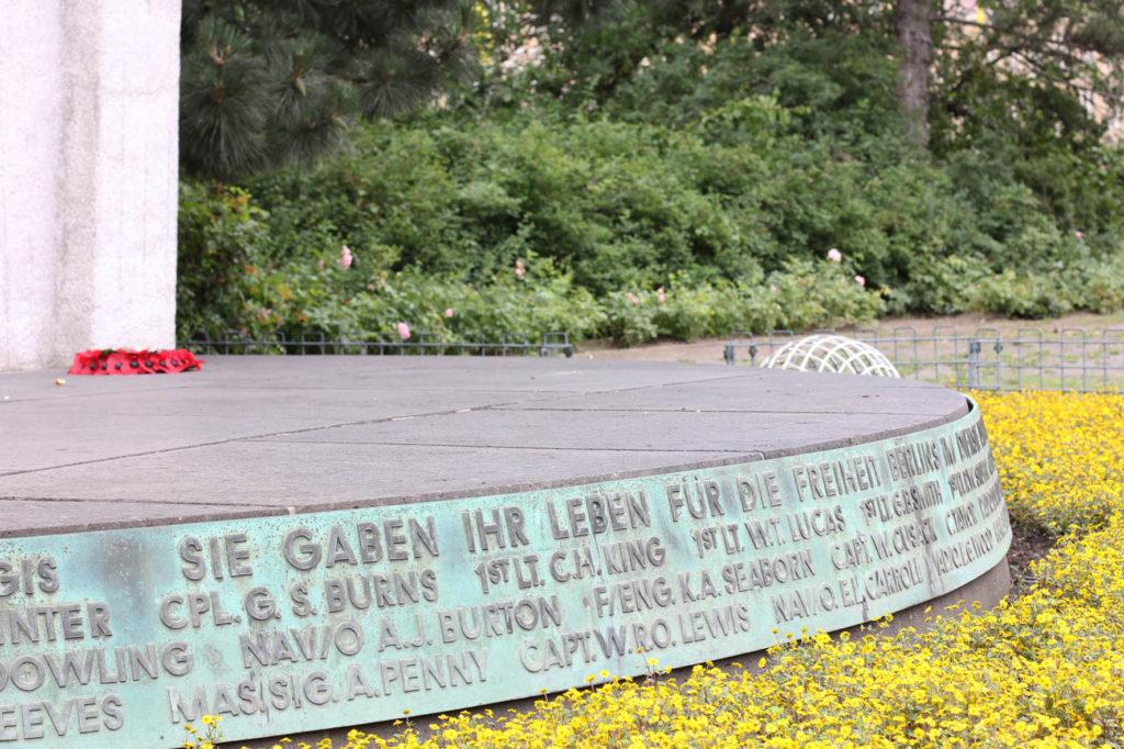 The base of the Berlin Airlift Memorial (Luftbrückedenkmal) on Platz der Luftbrücke, referred to by Berliners as the Hungerharke (Hunger Rake) or Hungerkralle (Hunger Claw)