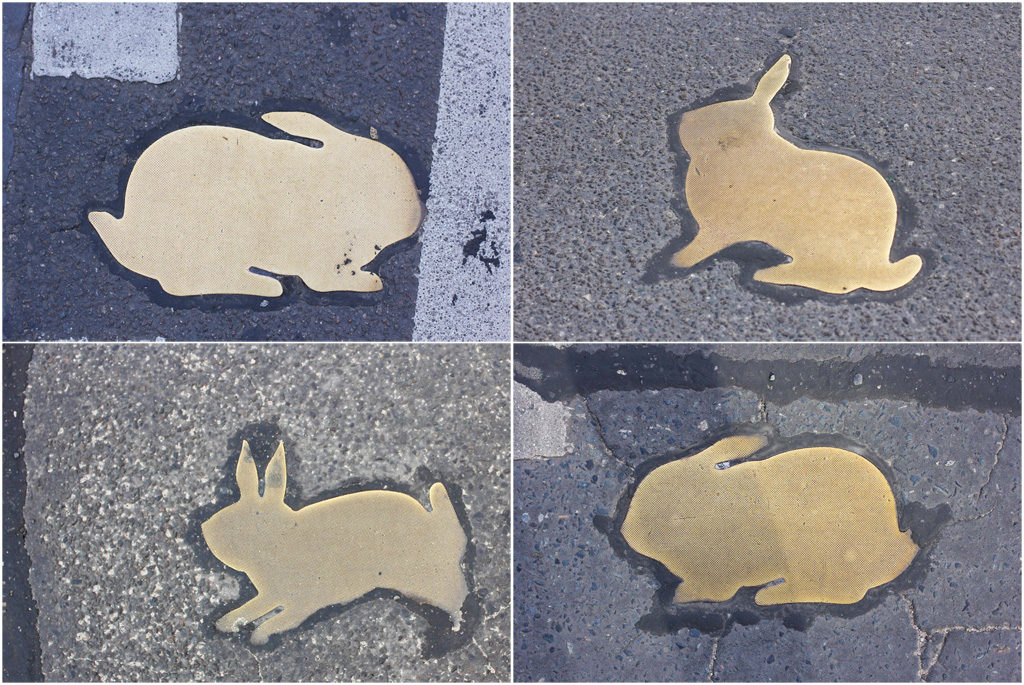 A collection of the brass rabbits on the road of the Kaninchenfeld (Rabbit Field), a memorial to the rabbits that lived on the Berlin Wall death strip by Karla Sachse at the site of a former border crossing point on the Chausseestrasse in Berlin