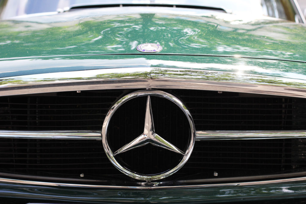 Green Mercedes at Classic Days Berlin - an annual classic car event held on the Kurfürstendam