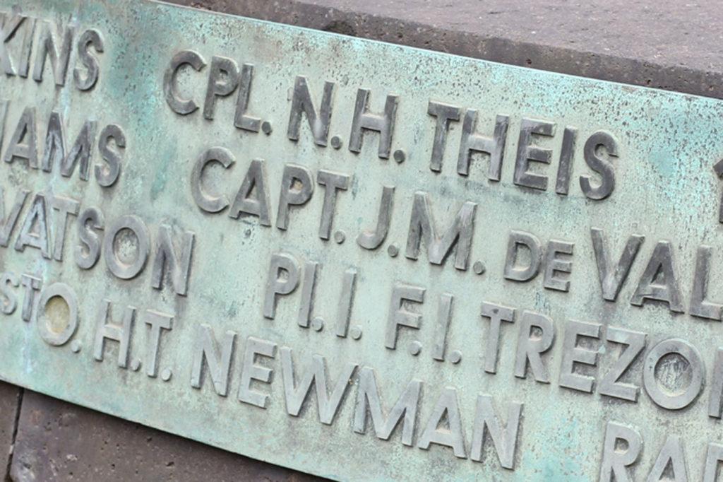 Names inscribed on the base of the Berlin Airlift Memorial (Luftbrückedenkmal) on Platz der Luftbrücke, referred to by Berliners as the Hungerharke (Hunger Rake) or Hungerkralle (Hunger Claw)