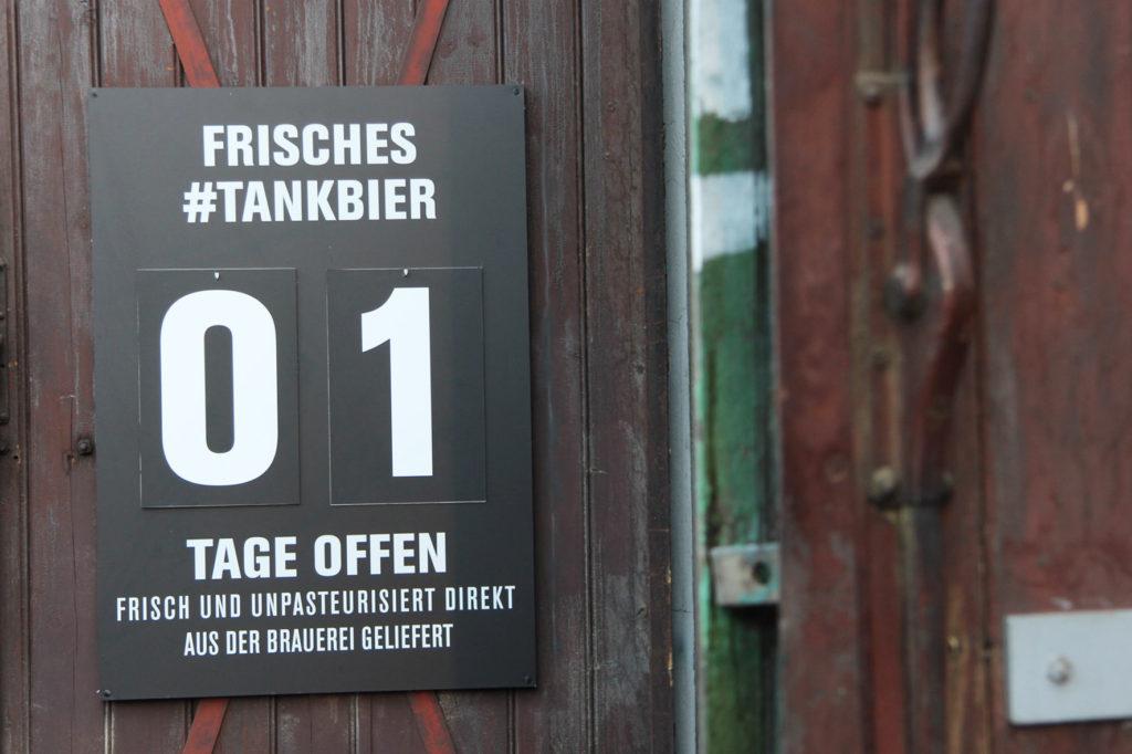 Pilsner Urquell Sign at Birgit & Bier Beer Garden Berlin