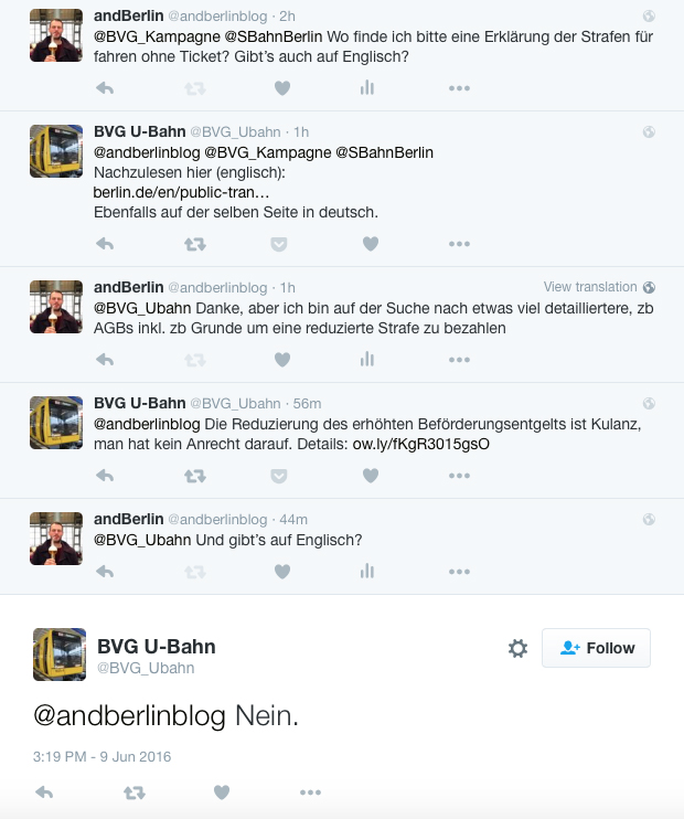 A conversation about Schwarzfahren (travelling without a ticket on public transport) in Berlin with the twitter account of the BVG U-Bahn
