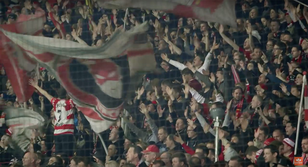 Union Berlin fans at the Stadion An der Alten Försterei - still from the documentary Union Berlin - The Fans Who Literally Built Their Club by Copa90