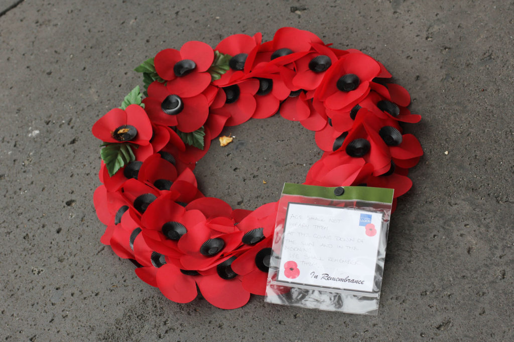 A wreath left on the base of the Berlin Airlift Memorial (Luftbrückedenkmal) on Platz der Luftbrücke, referred to by Berliners as the Hungerharke (Hunger Rake) or Hungerkralle (Hunger Claw)