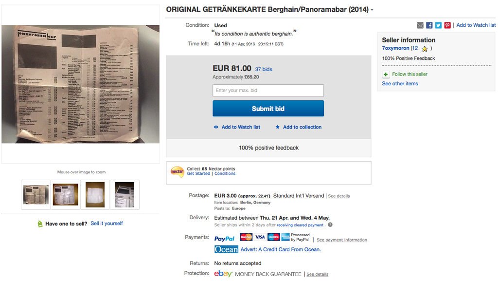 A Berghain / Panorama Bar Drinks Menu listed for sale on eBay