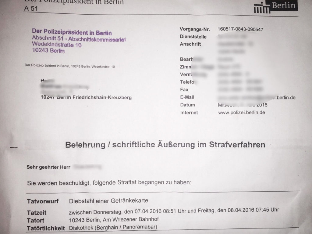 Berghain Drinks Menu Theft Police Letter on eBay