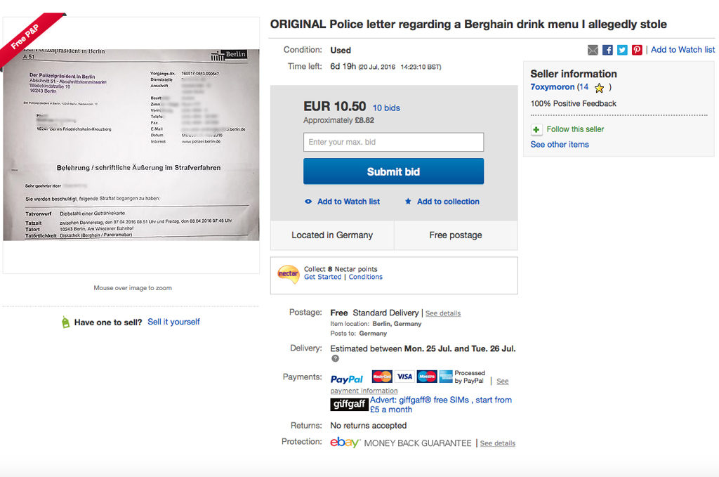 Berghain Drinks Menu Theft Police Letter on eBay Listing