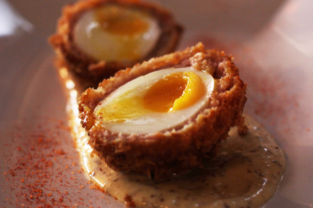 Breakfast Scotch Egg at Salt n Bone Berlin - Soft Boiled Egg Wrapped in Bacon, Sausage & Maple Syrup, Crumbed and Fried Crispy