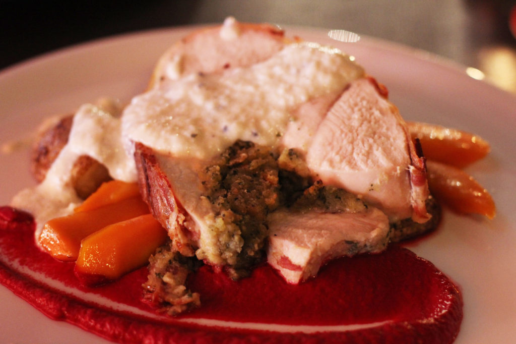 Turkey Roast at Salt n Bone Berlin - Sage & Garlic stuffed Turkey wrapped in Bacon with Bread Sauce, Roast Potatoes, Glazed Carrots & Beetroot Purée