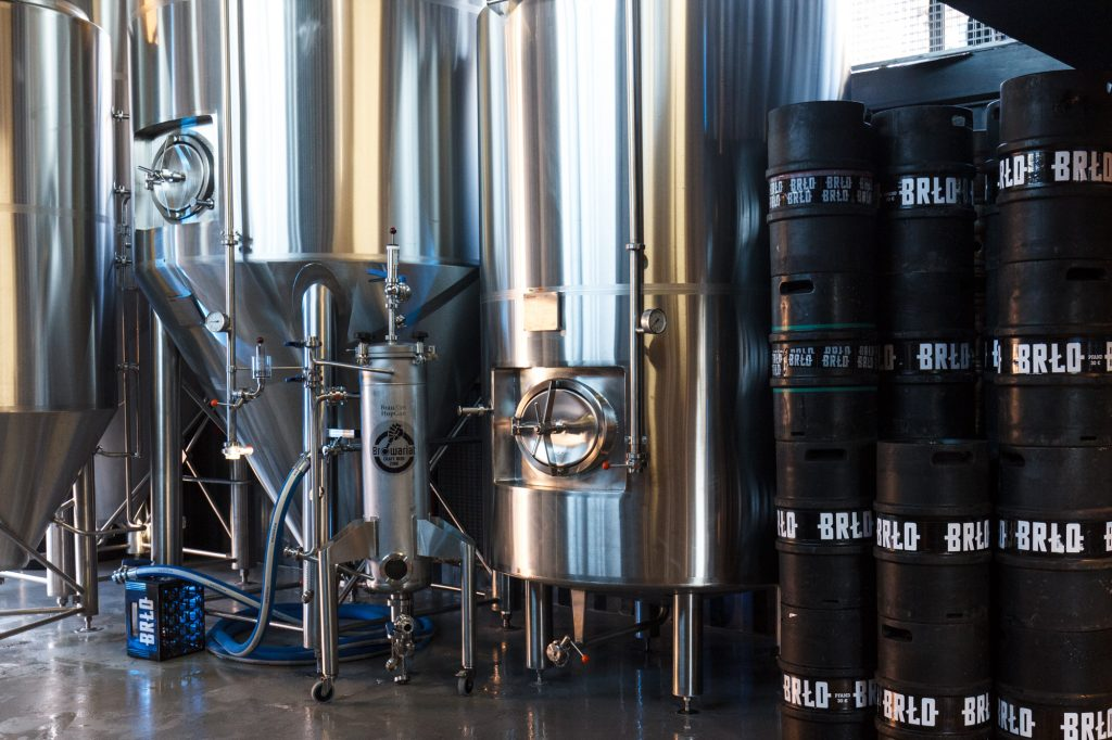 Tanks and barrels in the brewery at BRLO Brwhouse - a craft beer brewery, bar, restaurant and beer garden and the edge of Park am Gleisdreieck in Berlin