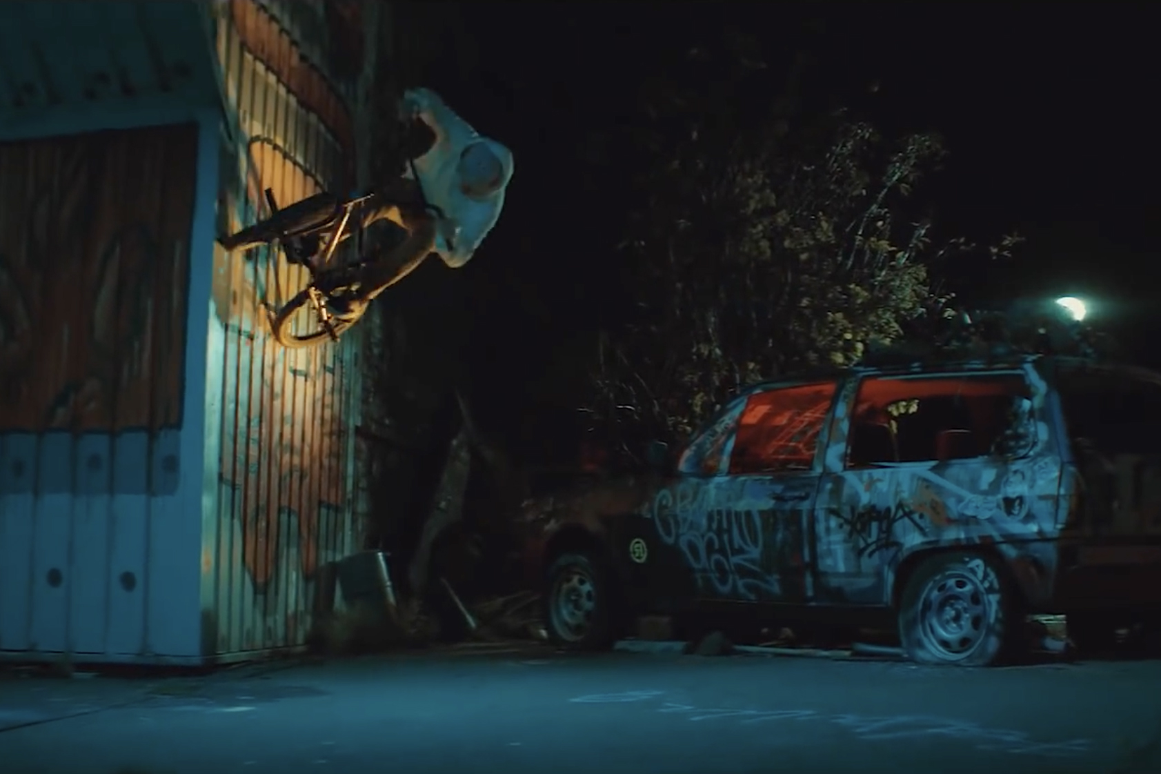 Red Bull BMX Rider Bruno Hoffmann performing tricks at the former NSA listening station on the Teufelsberg - Screenshot from Devil's Voice on YouTube