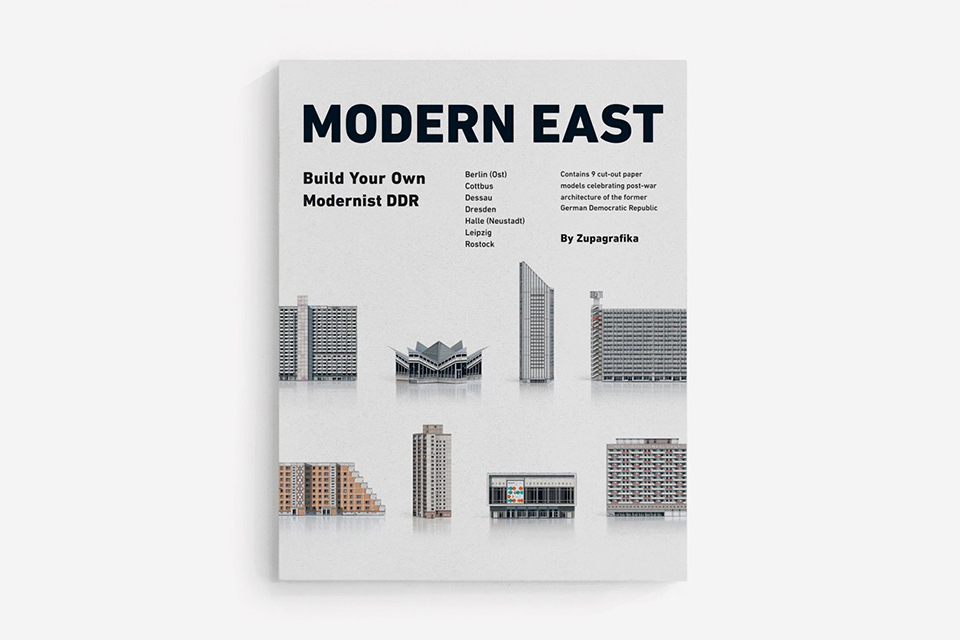 MODERN EAST. Build Your Own Modernist DDR - a set of 9 paper models of GDR Architecture to cut out and assemble by Zupagrafika.