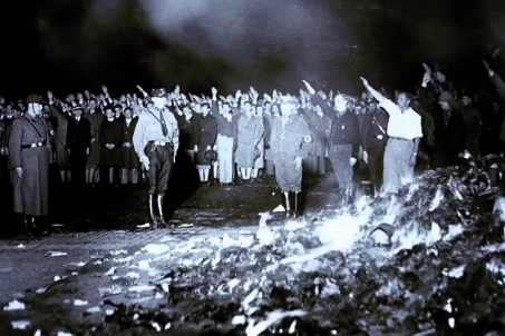 The Nazi book burning on Bebelplatz (then Opernplatz) in Berlin in 1933 - Screenshot from Nazi Book Burning, a short documentary from the United States Holocaust Memorial Museum on YouTube