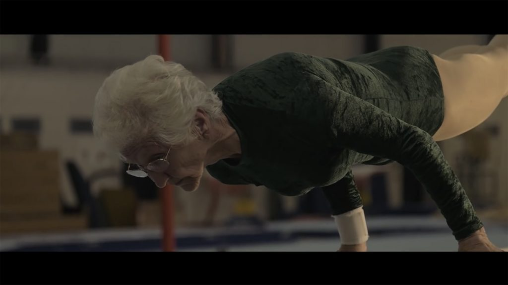 Screenshot from Turning Ninety - a short film by Rolling Shutter about The World's Oldest Competitive Gymnast, Johanna Quaas, on YouTube
