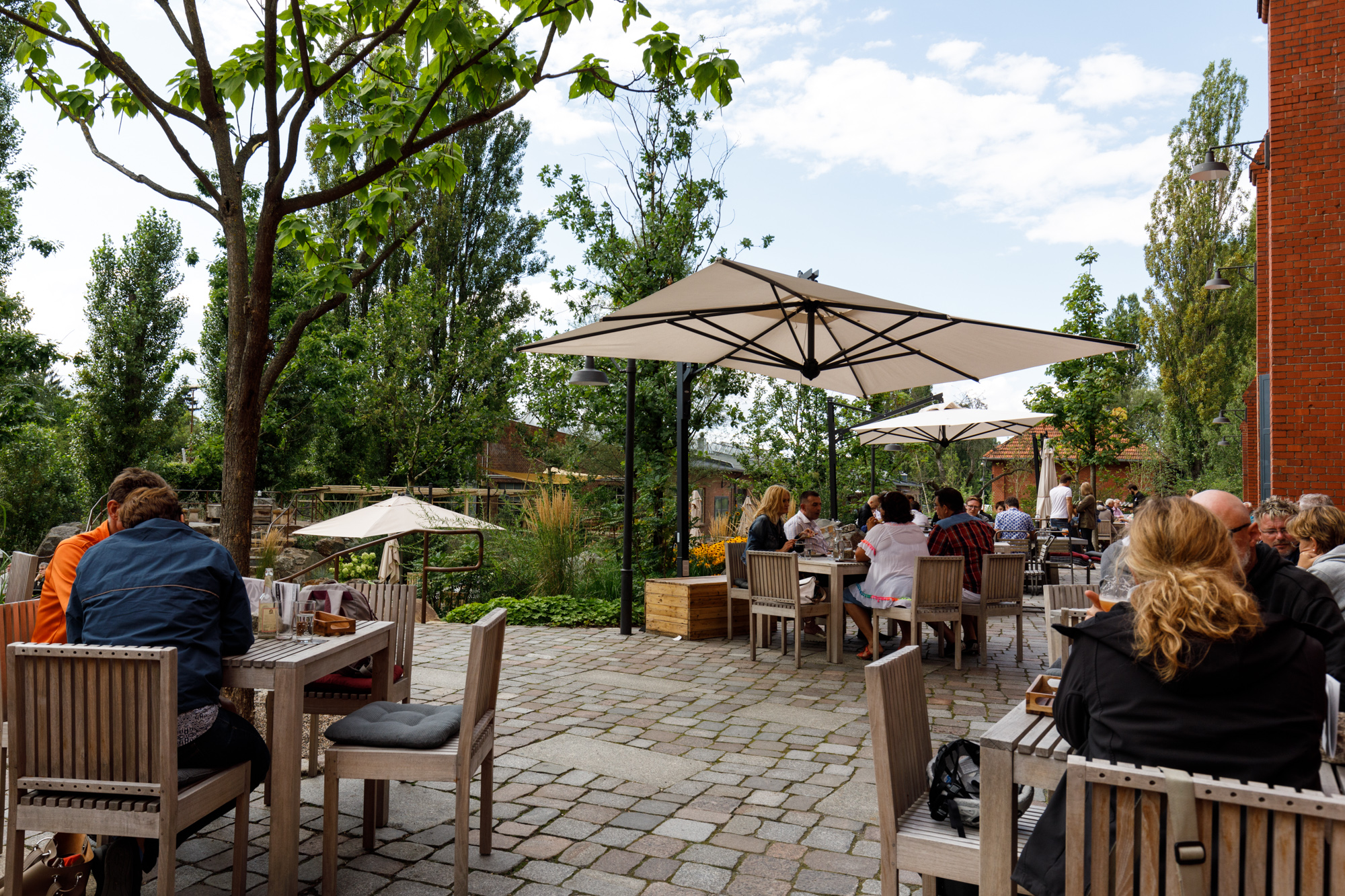 The beer garden at Stone Brewing Berlin, the European headquarters of the US craft brewer in the former Marienfedorf gasworks