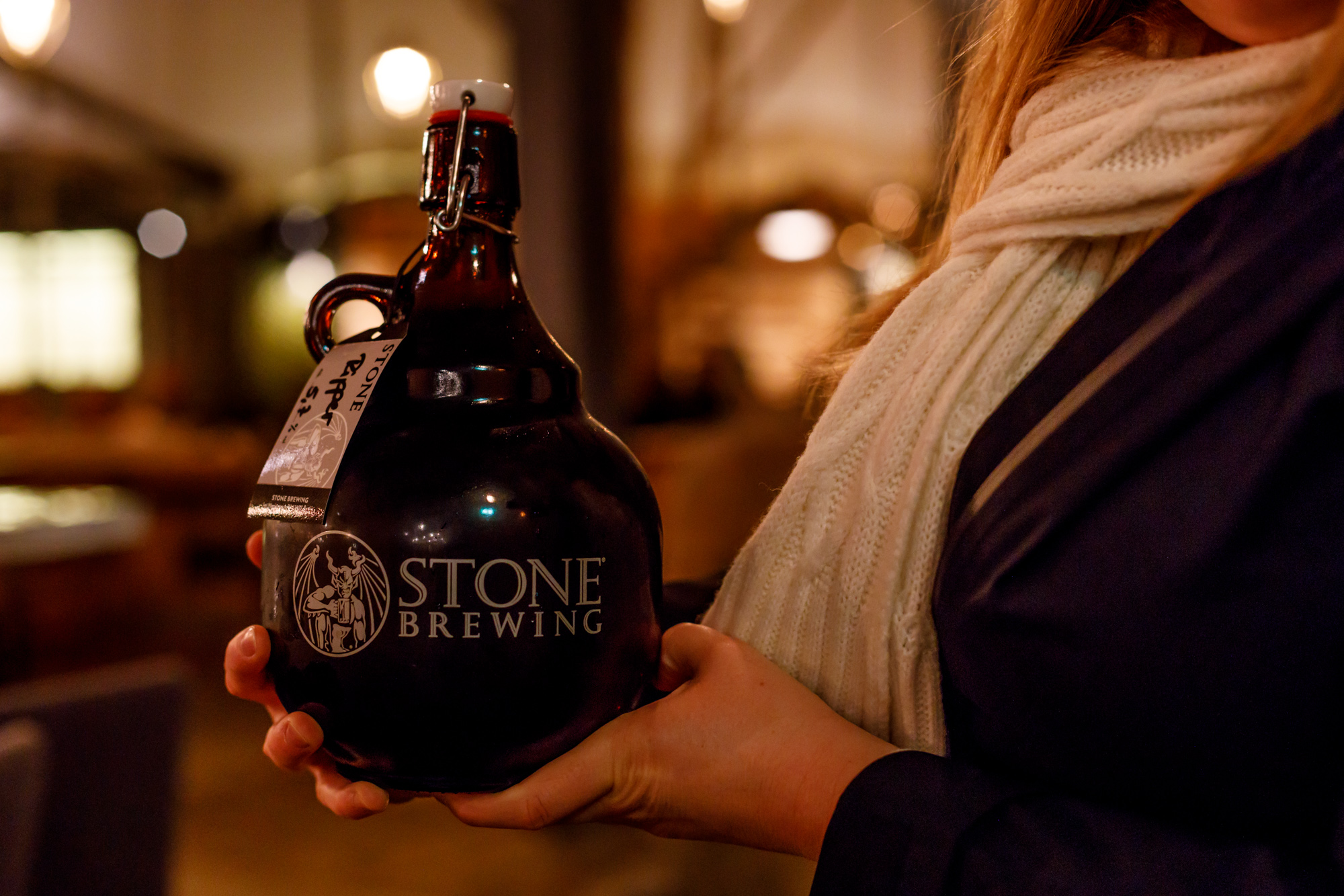A Stone Ripper 2l growler at Stone Brewing Berlin, the European headquarters of the US craft brewer in the former Marienfedorf gasworks