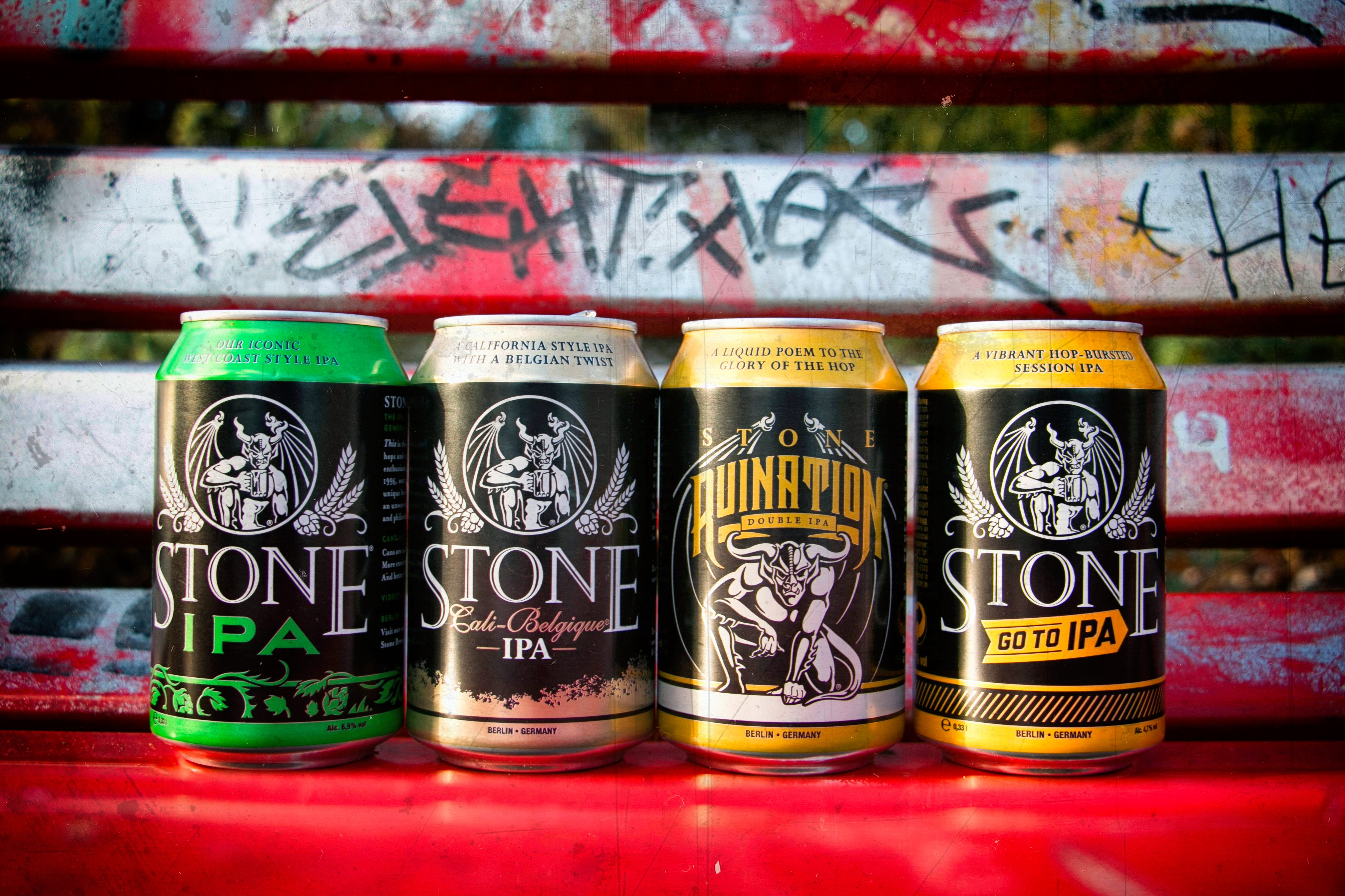 A range of Stone beer cans from Stone Brewing Berlin, the European headquarters of the US craft brewer in the former Marienfedorf gasworks - Photo Credit Stone Brewing Berlin
