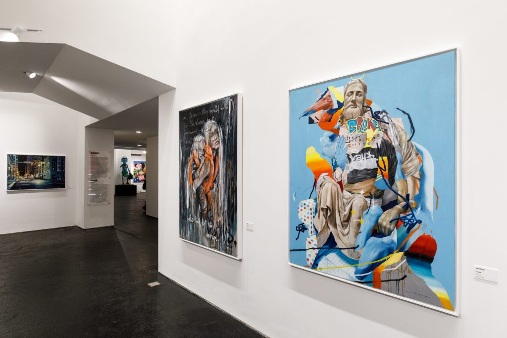 Canvases by Logan Hicks, Herakut and Jouram Roukes at Urban Nation Museum for Urban Contemporary Art in Berlin