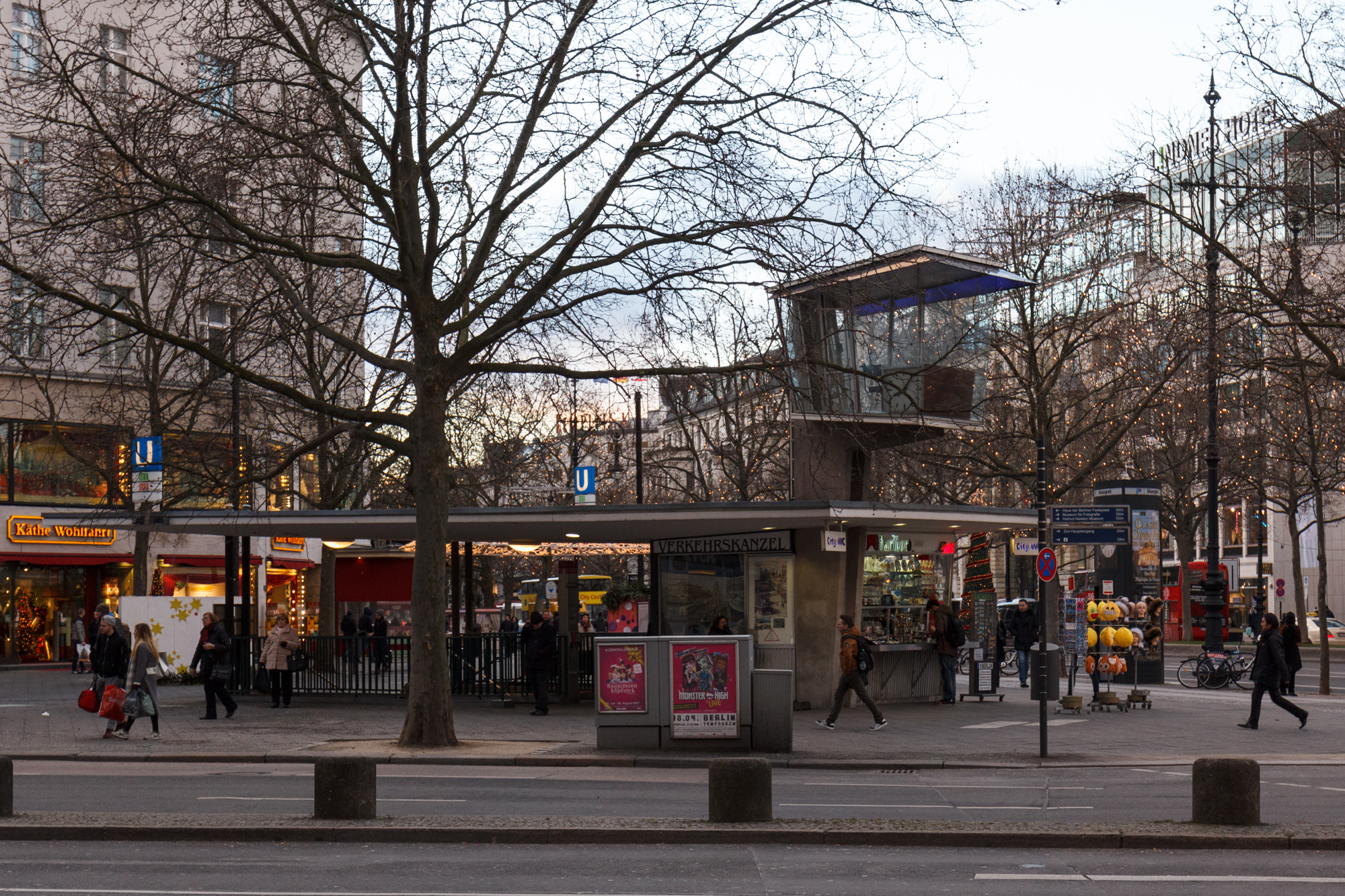 The Verkehrskanzel, a 1950s Traffic Control Pulpit on the corner of Kurfürstendamm and Joachimstaler Straße in Berlin, and the entrance to the Kurfürstendamm U-Bahn station