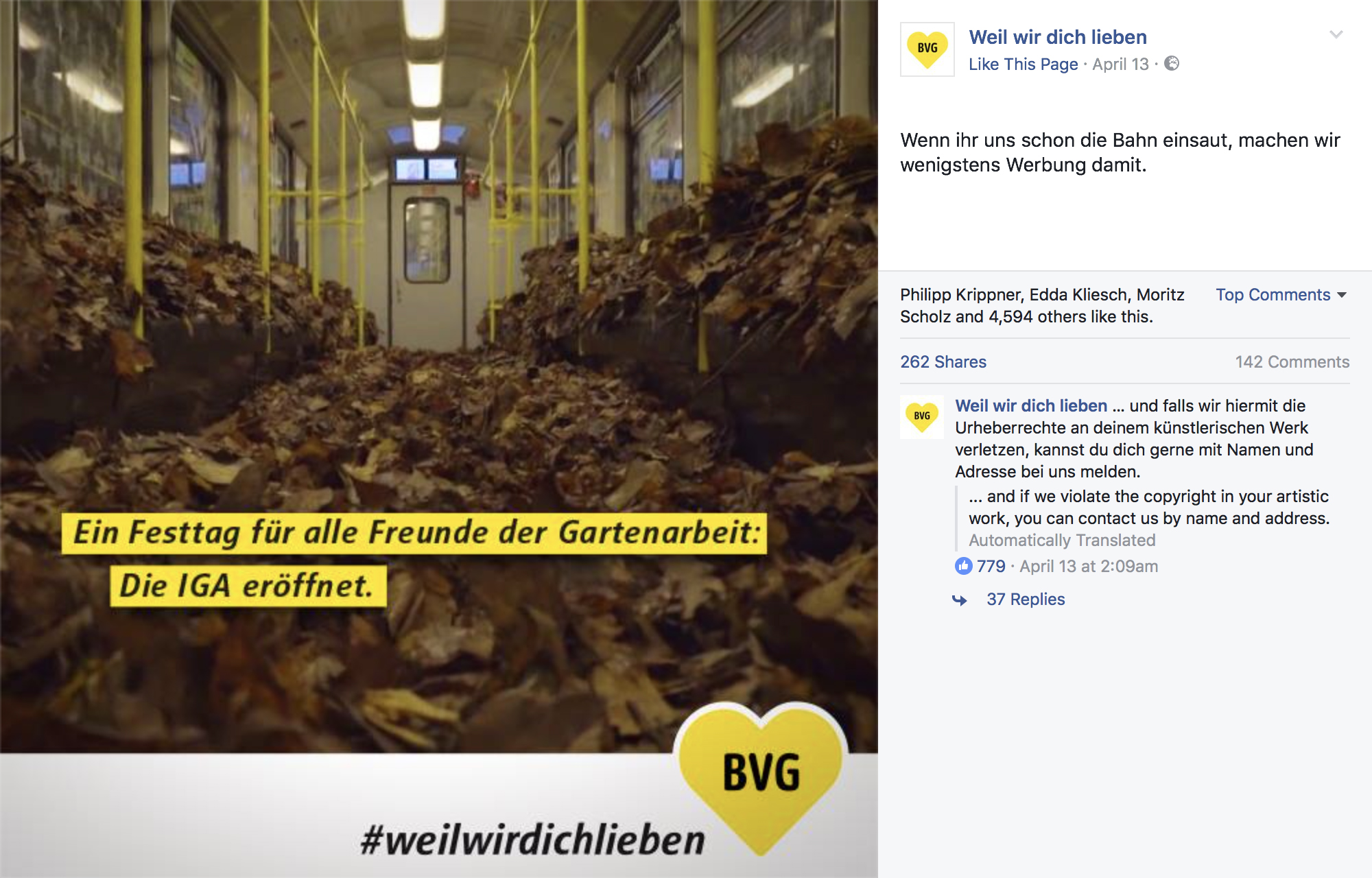 BVG Facebook Post promoting the opening of the IGA (the International Garden Exhibition) using an image from the TOY Crew video Leaf the Train