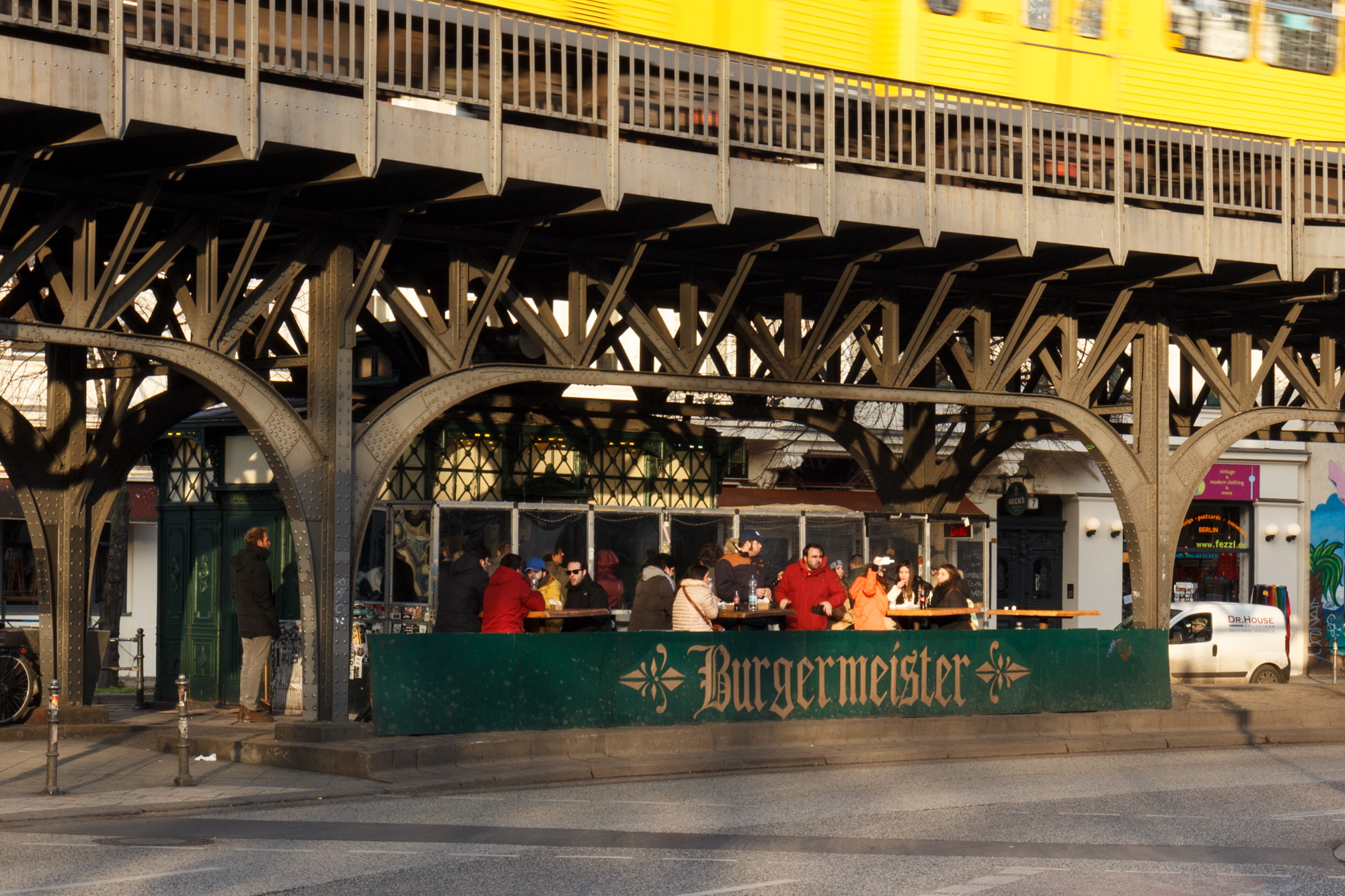 Burgermeister - a Berlin burger joint in a converted toilet - a rectangular variation of the Café Achteck - Berlin's classic 19th century green cast iron public toilets