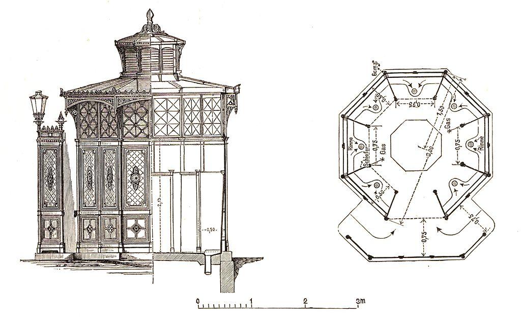 Café Achteck Design - Berlin und seine Bauten, Verlag Wilhelm Ernst & Sohn 1896 - Wikimedia Commons / Public Domain