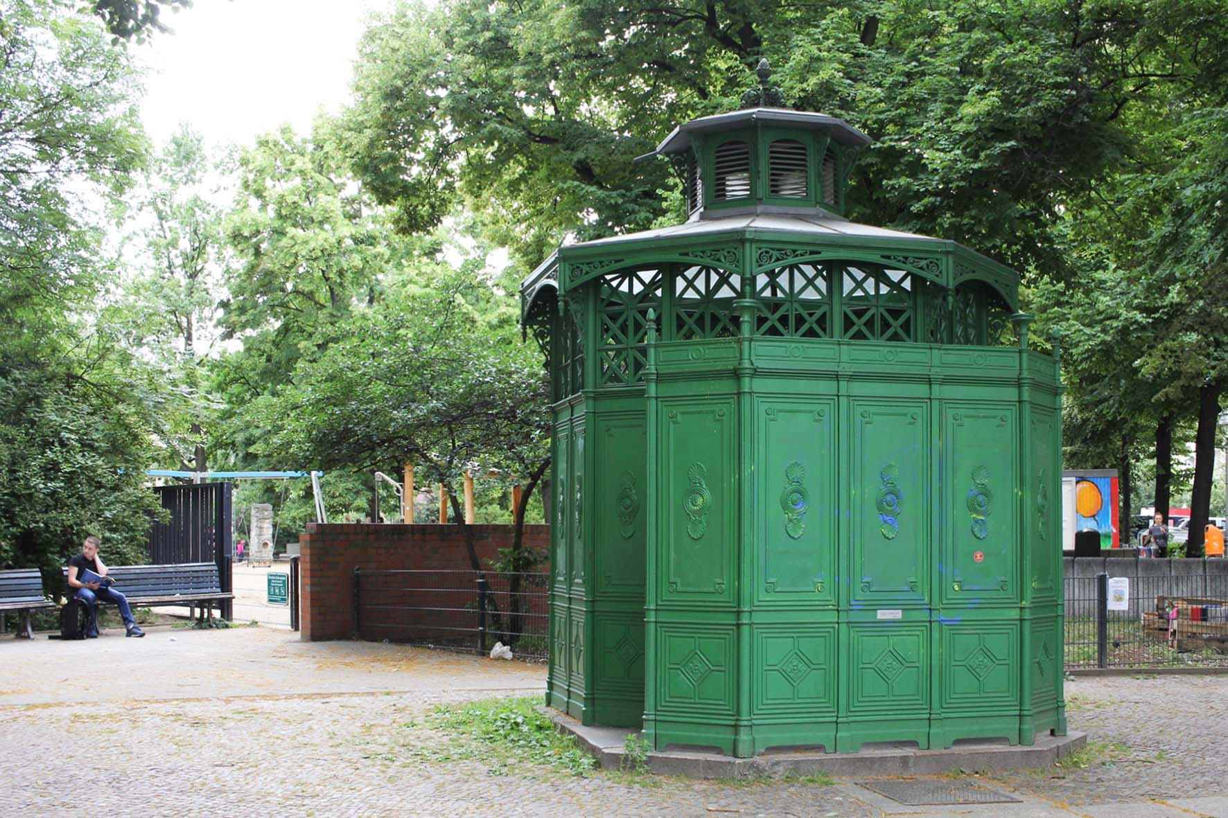 Café Achteck - Stephanplatz - an example of Berlin's classic 19th century green cast iron public toilets