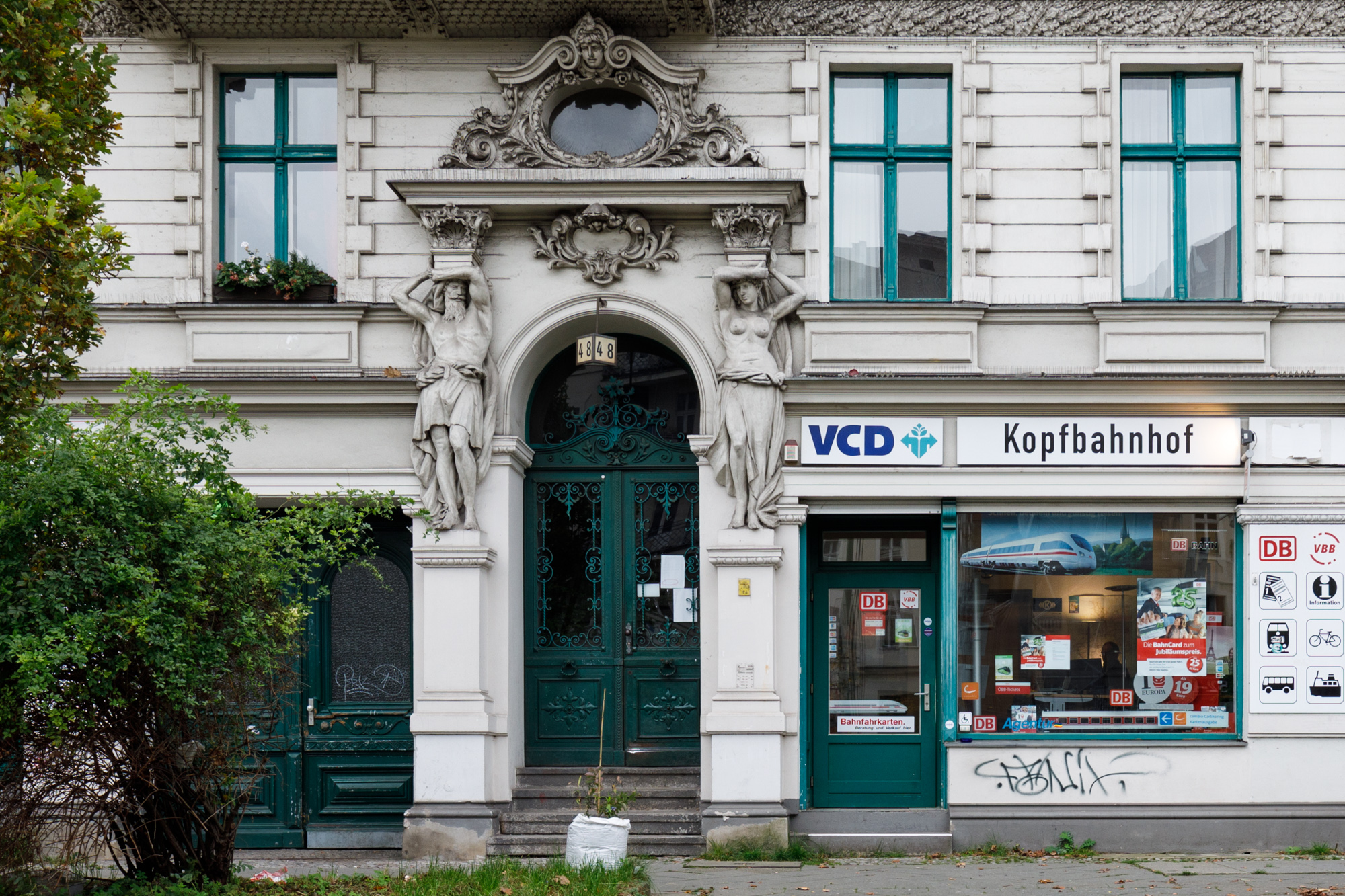 Kopfbahnhof a travel agent specialising in train tickets in the former Risiko bar / club at Yorckstrasse 48 in Berlin